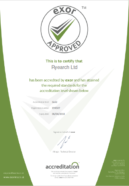 Exor Reaward Ryearch with Gold Accreditation